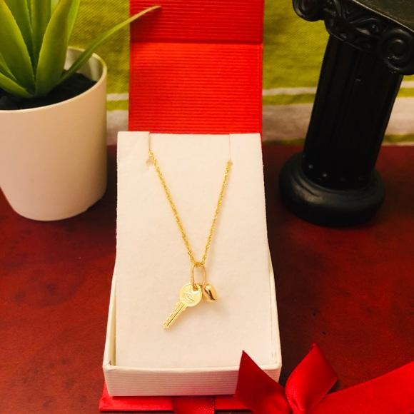 Stamped Jewelry 18k Real Saudi Gold Heartkey Necklace Poshmark